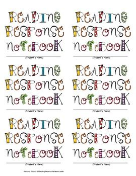 Free Reading Response Notebook Cover Labels
