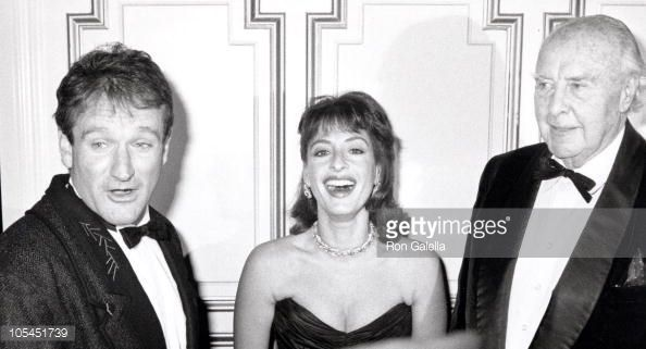 Robin Williams, Patti Lupone, and John Houseman during Acting Company Benefit…