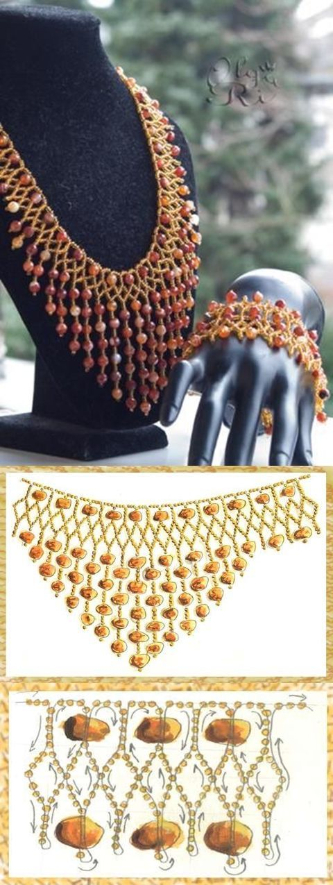netting with dangles schema ~ Seed Bead Tutorials