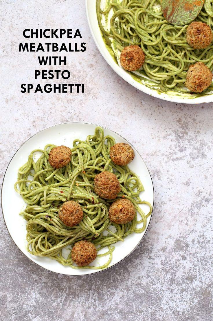 "AmazingPesto Spaghetti with Vegan Meatballs made with Chickpeas. Vegetarian Chickpea Walnut ""meatballs"" over pesto pasta. Vegan Soyfree Recipe. Glutenfree option"