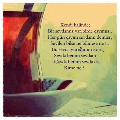 Kendi halinde; Bir sevdamız var, birde çayımız.. Her gün çayım sevdamı demler, Sevilen bilse ne bilmese ne !.. Bu sevda yüreğimin koru, Sevda benim sevdam !.. Çayda benim sevda da.. Kime ne ?