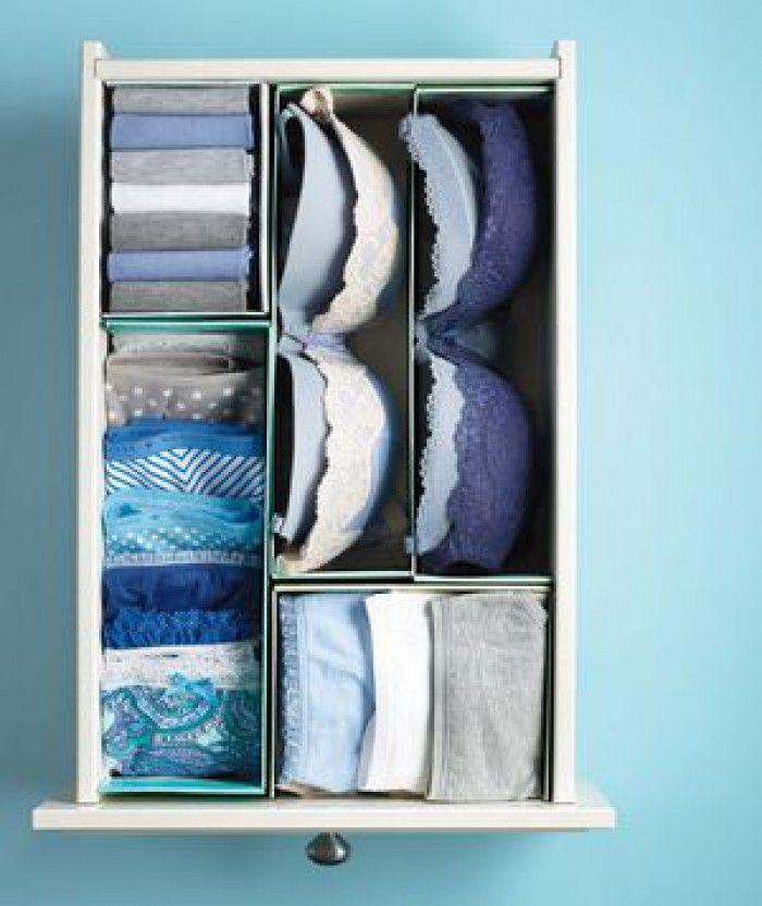 Slim idee: schoenendozen doormidden knippen en gebruiken om je lades in te delen