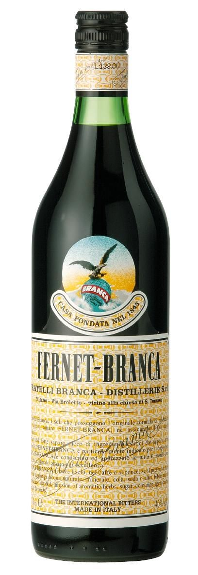 """Fernet Branca """"The Brown Stuff"""" is a bitter, aromatic spirit from Italy aged at least 1 year in oak barrels. Invented in Milan in 1845 by the Italian Maria Scala Branca, Originally as a stomach medicine. The Fratelli Branca Distillery produces the drink according to a secret recipe with 27 herbs from five continents, including aloe from South Africa, rhubarb from China, gentian from France, galangal from India or Sri Lanka, chamomile from Italy and Argentina, saffron, myrrh and elderflower."""
