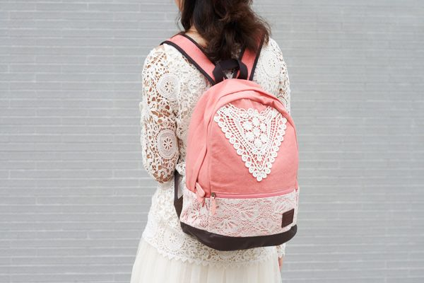 Navy Blue Backpack with Lace,