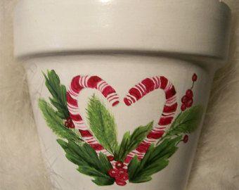 Heart Shaped Candy Cane Terra Cotta Pot Original