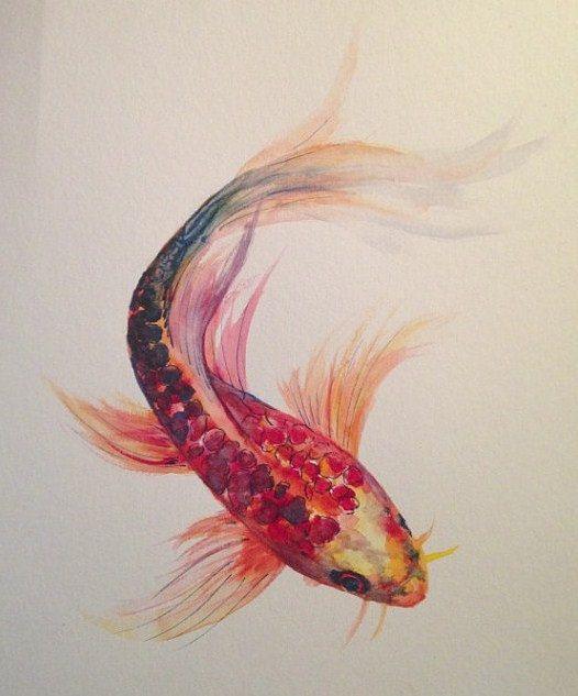 Watercolor Painting Koi Fish 9 x 12 Original by LaurenHellerArt, $30.00