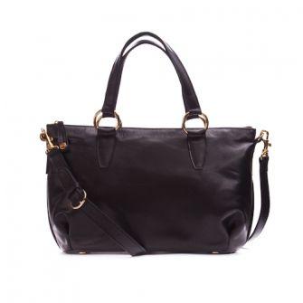IT LONDON: Black leather shoulder and handbag