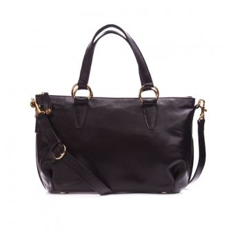IT LONDON: Black leather shoulder and handbag