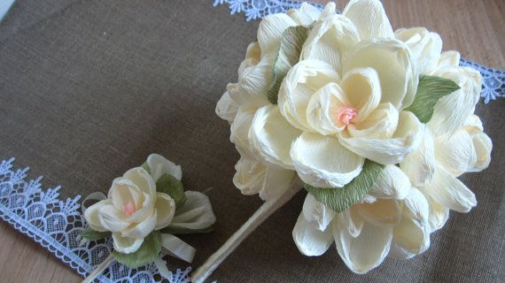 Magnolia Paper WEDDING BOUQUET MAGNOLIAS flowers by moniaflowers