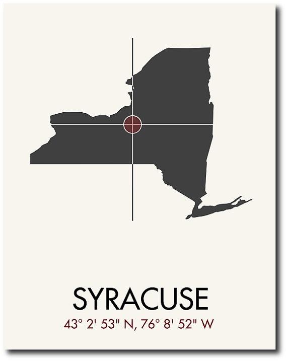 Syracuse map print syracuse map art syracuse print for Plan and print syracuse