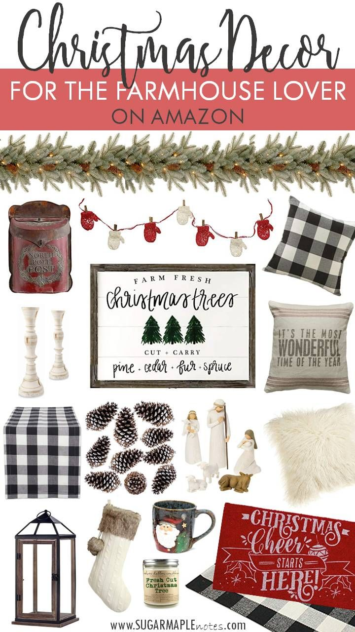 Christmas Decor For The Farmhouse Lover On Amazon Buffalo Check Christmas Decor Amazon Christmas Decorations Farmhouse Christmas Decor
