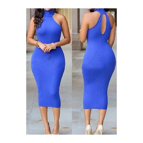 Rotita High Neck Royal Blue Hollow Back Dress ($20) ❤ liked on Polyvore featuring dresses, blue, royal blue sheath dress, print midi dress, sleeveless dress, mid calf dresses and electric blue dress