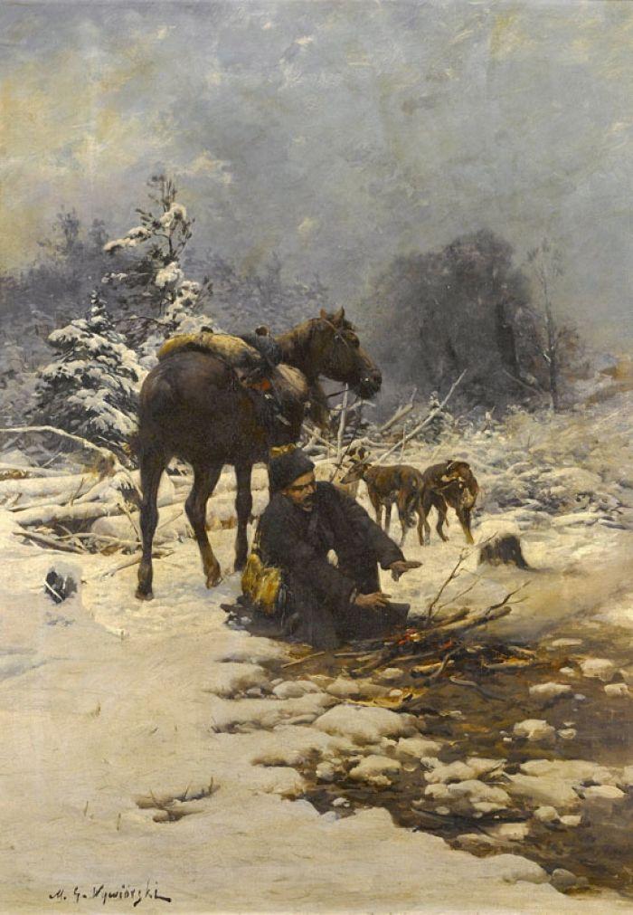 Michał Gorstkin Wywiórski - Odpoczynek myśliwego