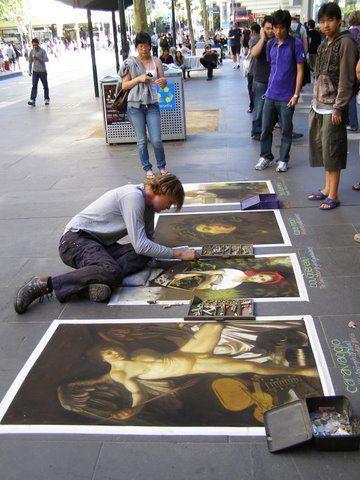 talented street artist in Bourke Street, Melbourne