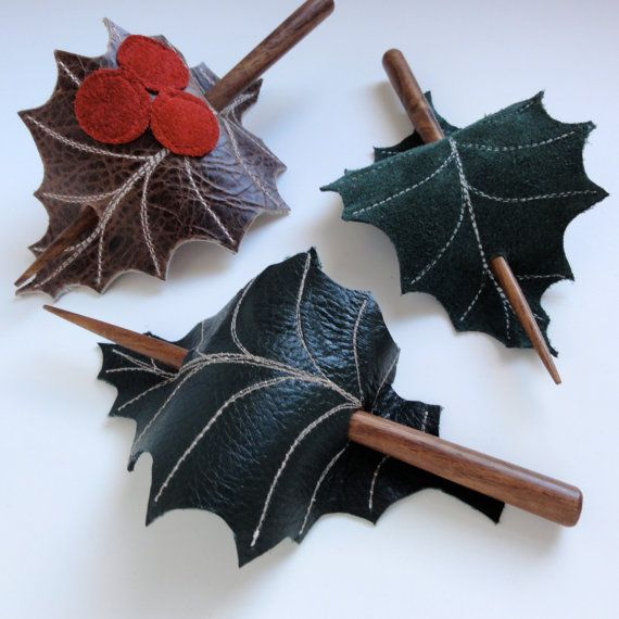 Holly Leaf Hair Stick Barrette - Eco Friendly Leather