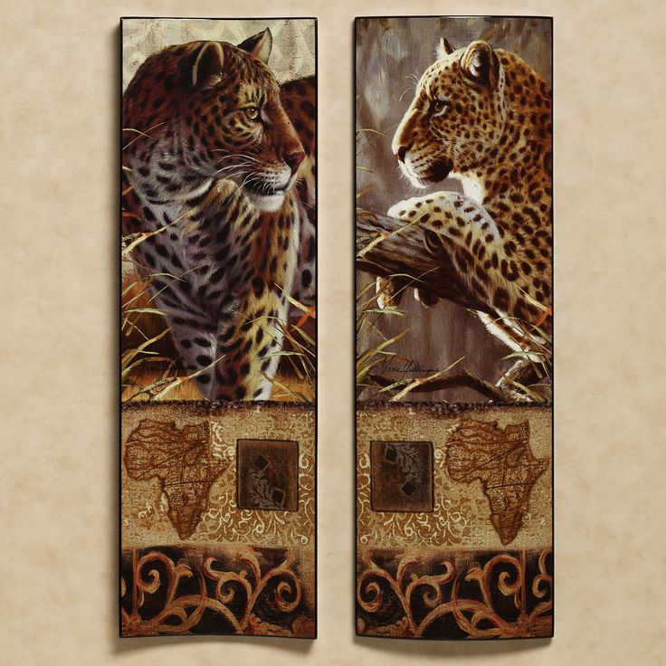 Wall Decor Sets Of 2 : Impressions of africa leopard wall art set african