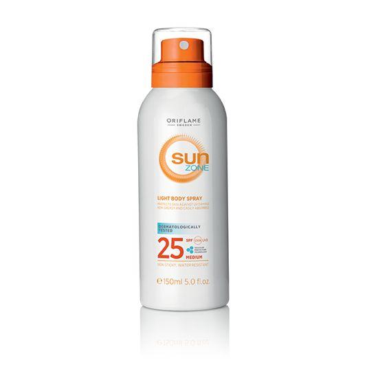 Loción Ligera Corporal en Spray SPF 25 Sun Zone (30171) Fórmula ligera de textura no grasa que protege tu cuerpo del sol con factor de protección SPF 25. Se absorbe al instante y deja la piel suave y con un delicado aroma.