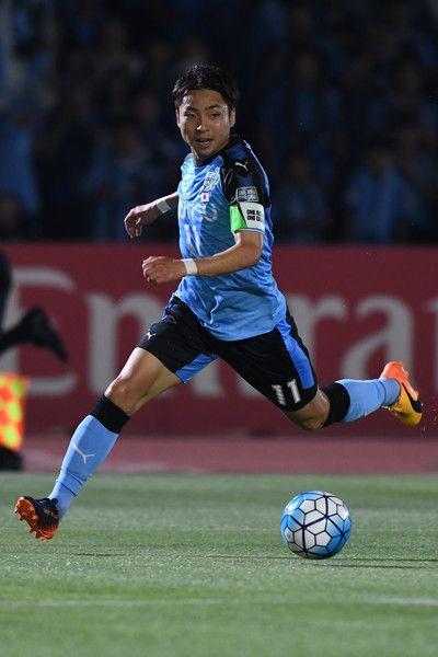 Yu Kobayashi of Kawasaki Frontale in action during the AFC Champions League Round of 16 match between Kawasaki Frontale and Muangthong United at Kashima Stadium on May 30, 2017 in Kashima, Japan.