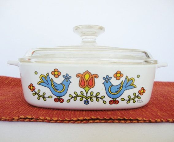 vintage corning ware casserole blue birds friendship