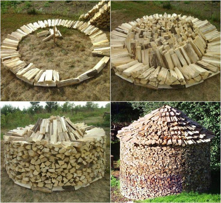 Brennholz Stapeln Holz Bauen Gartendeko Holz Brennholz Schuppen Holzaufbewahrung