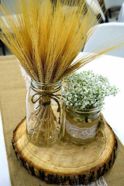 wedding centerpiece- mason jars burlap wheat baby's breath