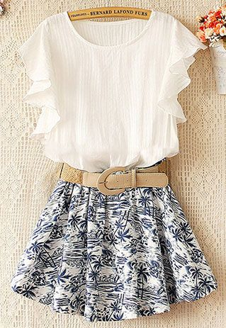 Anthro white blouse with the old BR skirt (Coconut Tree Print Skirt Stretchy Waist Falbala Sleeve Dress)