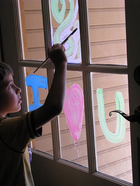 Window Paint:  all you need are four baby jars, 4 colors of tempera paint and liquid dish soap and a paint brush to mix it all up with