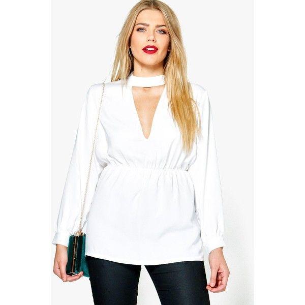Boohoo Plus Tana Choker Detail Peplum Blouse ($20) ❤ liked on Polyvore featuring tops, blouses, white top, white peplum top, boohoo tops, flat top and boohoo blouses