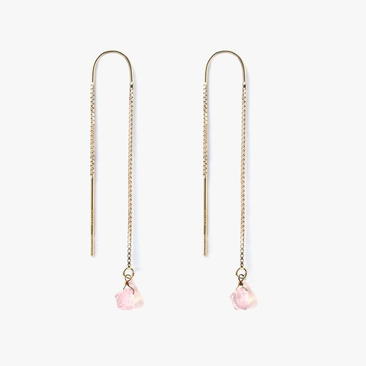 Inspired by the Northern Lights hues, our signature gold-filled drop  earring is reinvented with textural & ethereal raw cut gemstones.  materials - raw cut rose quartz 5-6mm - 14k gold fill waterfall earring  please note, each semi-precious stone is unique &will vary slightly from