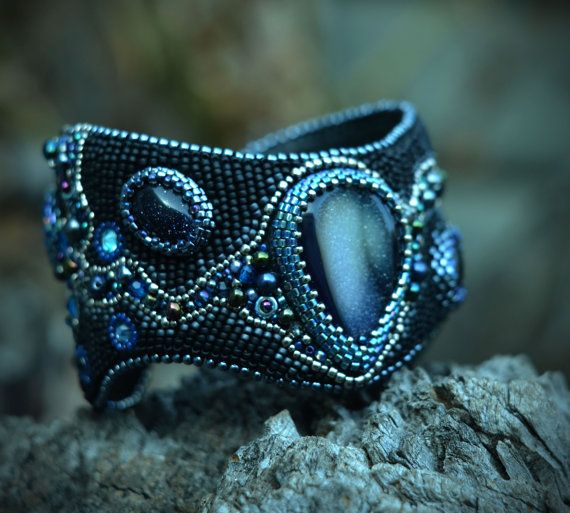 black  bracelet - bead embroidery bracelet - cuff bracelet - agate bracelet - beaded cuff bracelet by suzidesign. Explore more products on http://suzidesign.etsy.com