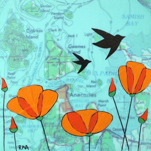 Fidalgo Bay  Original Map Painting 5 x 5  Birds by rachelaustin, $70.00