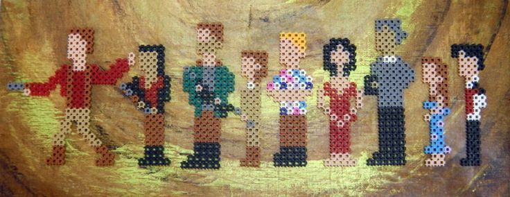 The entire crew: Mal, Zoe, Jayne, Kaylee, Wash, Inara, Shepherd Book, River and Simon. I was going to add Saffron but she's a liar and no good will come of her. #Firefly #Serenity #Shiny #JossWhedon #NathanFillion #SummerGlau #scifi #pixelart #perlerbeads #simbrix