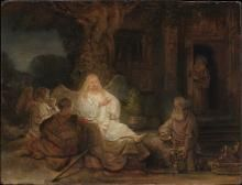Rembrandt painting of Abraham entertain the Angles