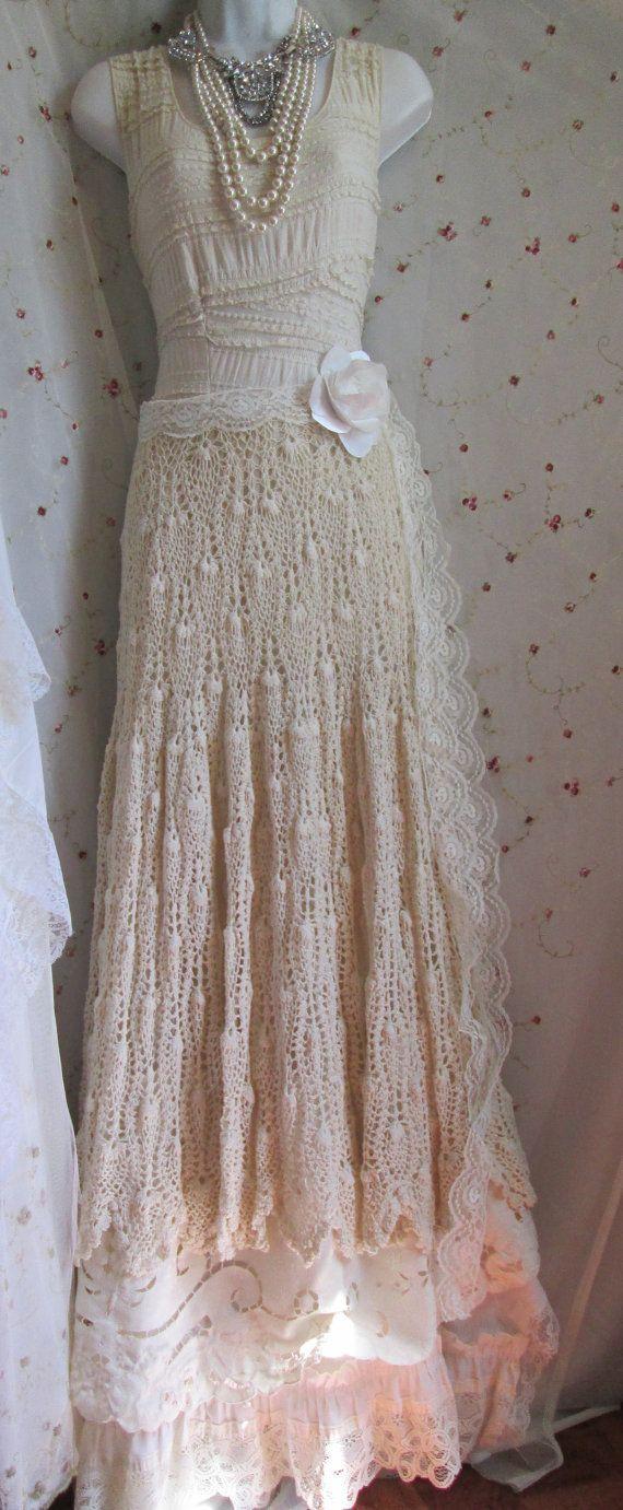 Boho wedding dress vintage crochet lace satin by vintageopulence