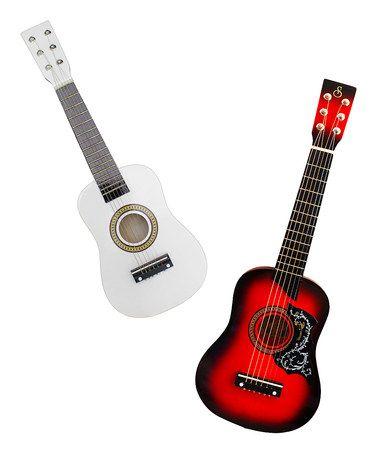 Red & White Kids Acoustic Guitar Set #zulily #zulilyfinds