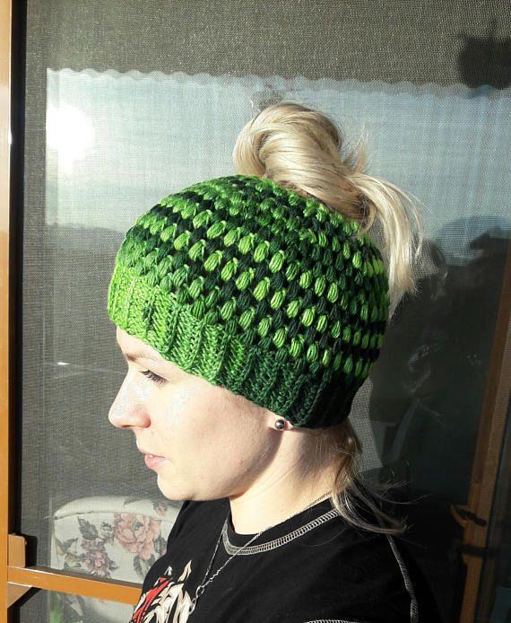 Messy bun beanie Crochet womens green beanie women beanie