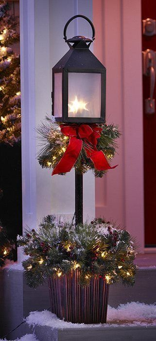 "**ILLUMINATED 42"" LampPost Tree Outdoor CHRISTMAS Porch Entryway Yard Decor**  