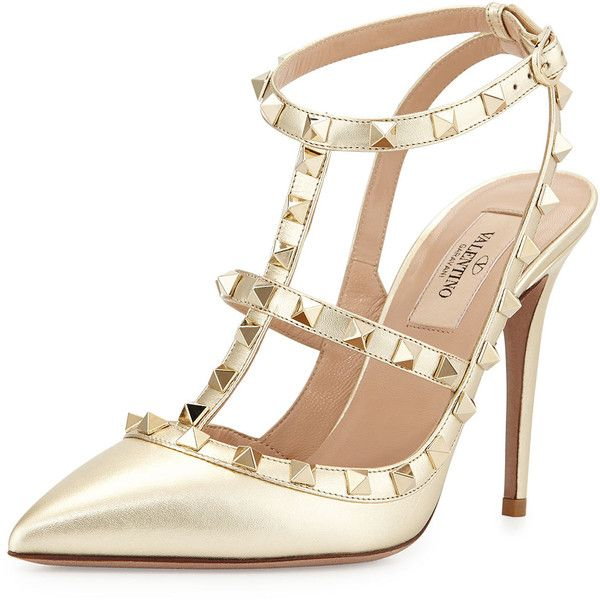 Valentino Metallic Rockstud Leather Pump ($1,105) ❤ liked on Polyvore featuring shoes, pumps, heels, sapatos, valentino, platino, metallic pumps, pointed-toe pumps, ankle strap pumps and valentino shoes