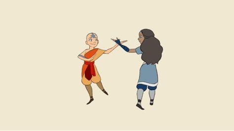 """Eu descobri """"Avatar o último Airbender"""" muito tarde e, finalmente assisti-lo pela primeira vez dois meses ago.What um caralho. Ótimo. Exposição. Michael Dante DiMartino, Bryan Konietzko: Obrigado por existing.So animei Aang e Katara,-dance flexão (inspirado no episódio """"The Headband"""") Porque eles fazem uma grande equipe."""