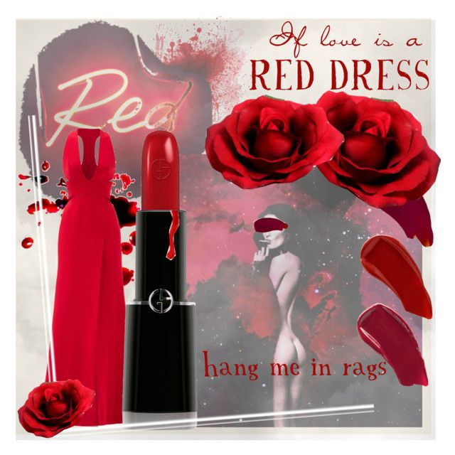 """""""If Love is a Red Dress"""" by rurustarr on Polyvore featuring Seletti, Ellis Faas, KaufmanFranco, Giorgio Armani, contest, red, dress, Dark and reddress"""