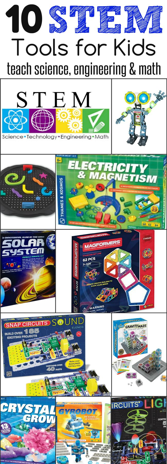 Awesome list - Want to teach kids about science, technology, engineering and math? You'll love this list of 10 STEM Tools for kids!