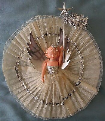 1950s Airfix Doll Dressed in Crepe Paper and Net with Decoration, Thin Card Wings and Wand. I have exactly the same dolly