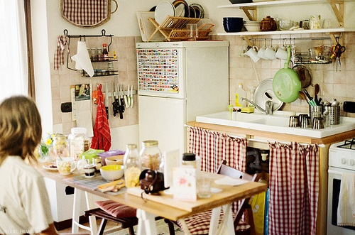 I love the curtain under the cabinet idea!!