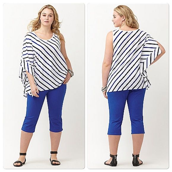NWT White w/ black & blue striping top Drama sleeve top. Scoopneck. 60% cotton; 40% modal. zxtrfrpo Lane Bryant Tops Tees - Short Sleeve