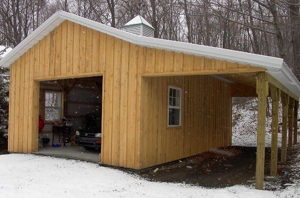 How to build a lean to board baton pole barn with lean for Carport shop combo