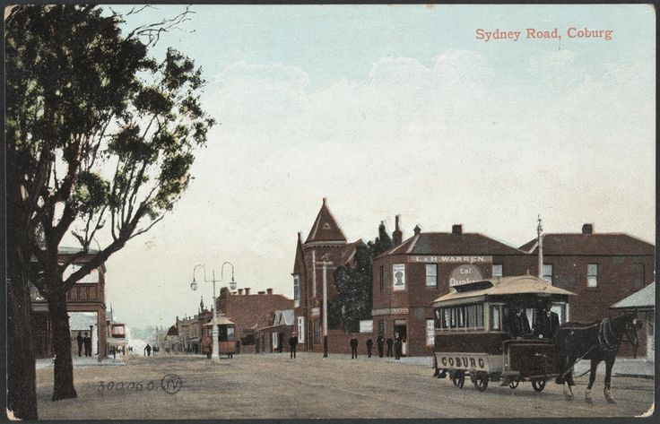 Sydney Road, Coburg, with horse tram, circa 1910. Photograph from State Library Victoria.