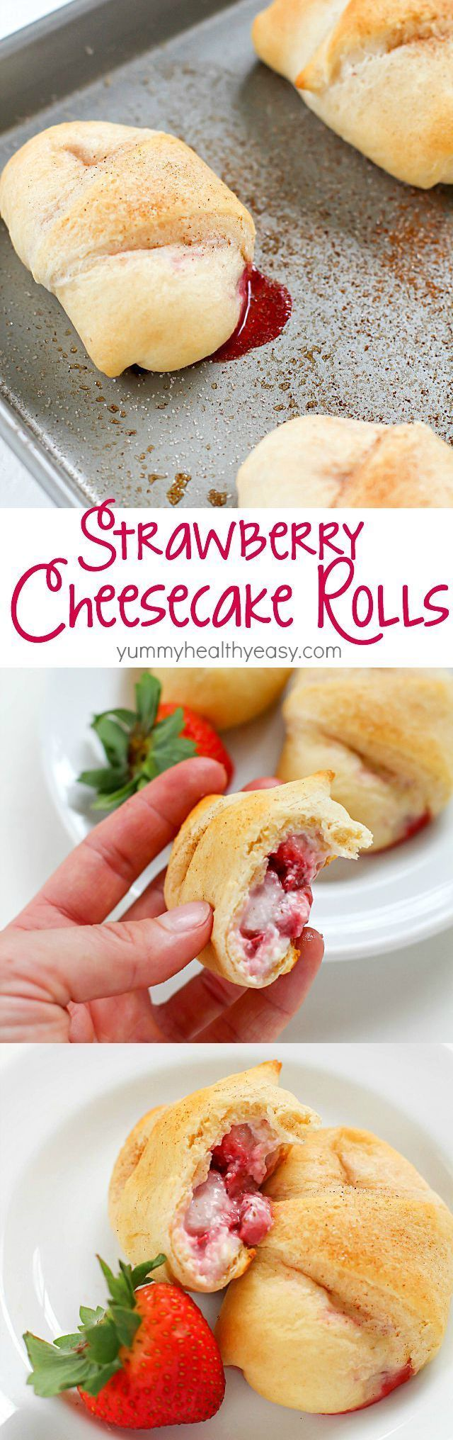 Need a quick and easy dessert? Try these Strawberry Cheesecake Rolls! Crescent rolls spread with a cream cheese mixture and a scoop of strawberries rolled together and baked. Delicious!