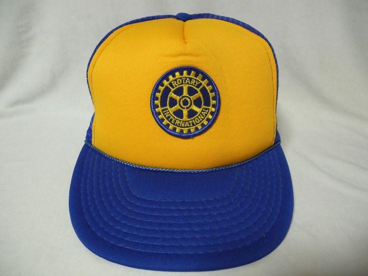 Vtg Rotary International Mesh Foam Snapback Trucker Hat Cap Hipster #TI #Trucker