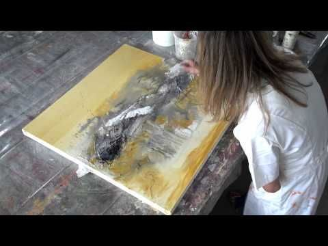 Acrylic painting abstract - Collage, Teer, Pigmente   Acrylmalen abstrakt - YouTube