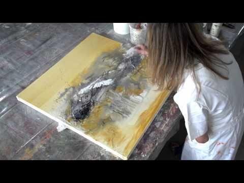 Acrylbild - Marmormehl geschüttet, Pigmente, Golden Flow - YouTube